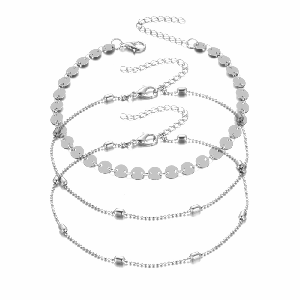 3 Pcs/ set Beads Anklets for Women Foot Jewelry Summer Beach Barefoot Sandals Bracelet Ankle On the Leg Female Charm Anklet