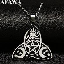 Wicca – colliers en acier inoxydable pour femmes, chaîne argentée, étoile, lune, soleil, N731S02, 2021