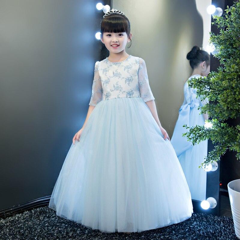 Glizt dentelle Appliques fleur fille robe demi manches enfant bal fête princesse robe de mariée grand arc filles première sainte Communion robe