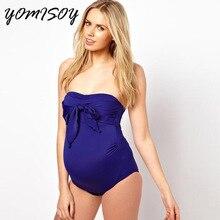 2018 Women s Sexy Strapless Bowknot font b Swimsuit b font Maternity Tankini font b Pregnancy