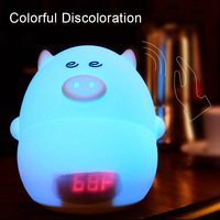 LED Night Light Pig Alarm Clock USB Charger Time Temperature Display Lamp For Kid Children Bedroom
