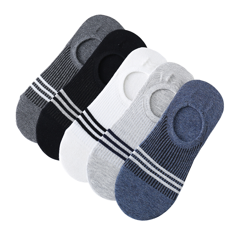 Best Selling Striped Men Socks 5 Pairs Imitation Double Needle Invisible Boat Socks Shallow Mouth Silicone Non-slip Cotton Socks