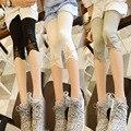 Malha Estrela Remendado Crianças Meninas Leggings Capri Verão 2016 Novo Adolescente Meninas Leggings Calças de Algodão de Verão Calças Preto Cinza Branco