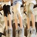 Malla Estrella Parcheado Niños Chicas Leggings Capri Verano 2016 Nuevas Chicas Adolescentes Pantalones Leggings Pantalones De Algodón De Verano Negro Gris Blanco