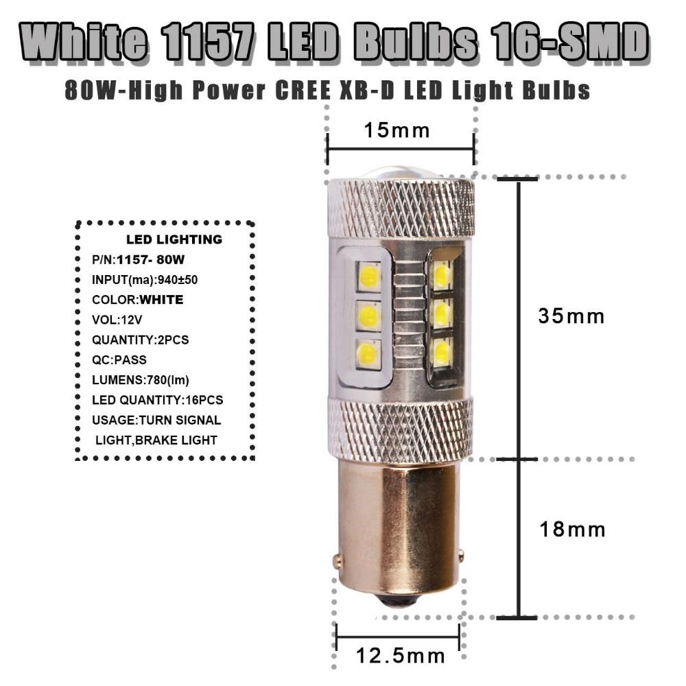 2 Pcs/Lot Car 80W High Power CREE Chip 1157 BAY15D 7528 White LED Lights Bulbs for Turn Signal Brake Tail Light