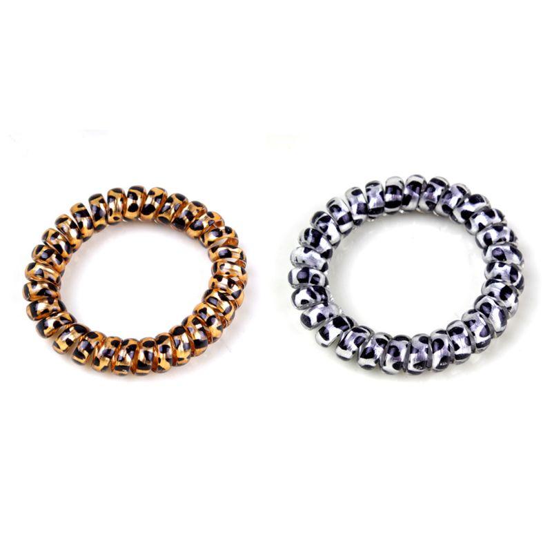 Women Girls Colorful Leopard Pattern Spiral Hair Ties Rope