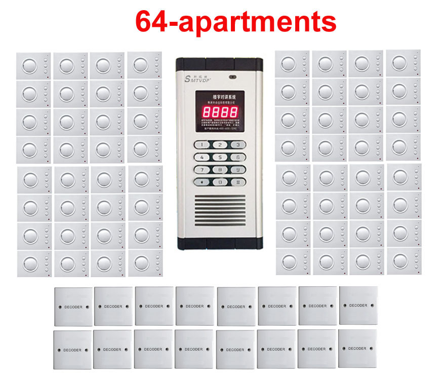 password Unlock Home Security Non-visual Building Intercom System For 64-apartments hand-free Audio Door Phone