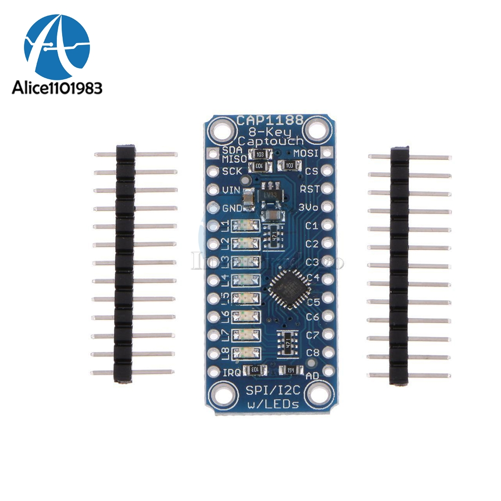 Electronic Components & Supplies Active Components Adroit Cap1188 8 Key Capacitive Touch Sensor Module 3v-5v Spi I2c Captouch Led 8 Button Interfaces For Arduino Board Diy Electronic Durable Service