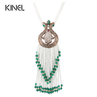 2017 New Turkish Tassel Pendant Necklaces For Women Antique Gold Plated Crystal Bead Long Necklace Choker