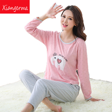 Xiangerma Winter Women Pajama Modal Sets Autumn Sleepwear Animal Elephant Pajamas Girls Night Homewear For Women Nightgown