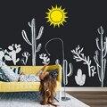 DIY Selbst klebende Kaktus Wand Decals Kunst Kaktus Wand Aufkleber für Kinder Kindergarten Botanischen Decor Sonne Große Größe Nach farben LC1324