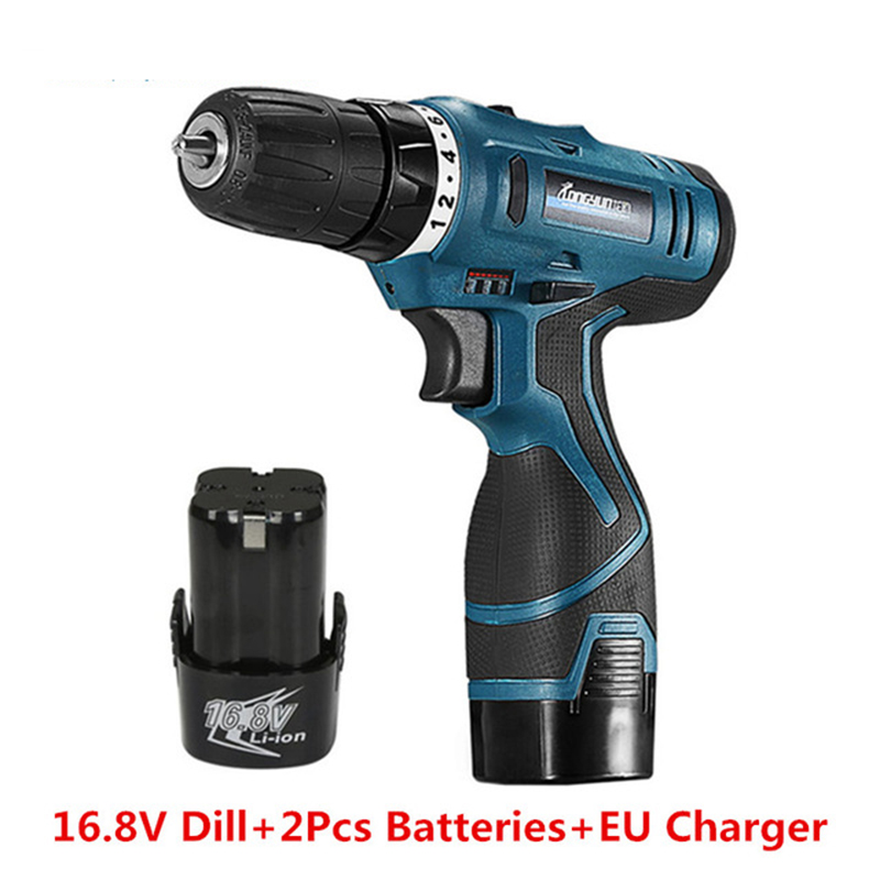 цена на 16.8V Electric screwdriver Rechargeable Lithium Battery*2 Double Speed Cordless Screwdrivers Parafusadeira Furadeira Power Tool