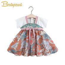 Embroidery Baby Girl Dress Chinese Style Baby Dresses Summer Kids Dresses for Girls Clothes A-Line Bow Floral Infant Clothing