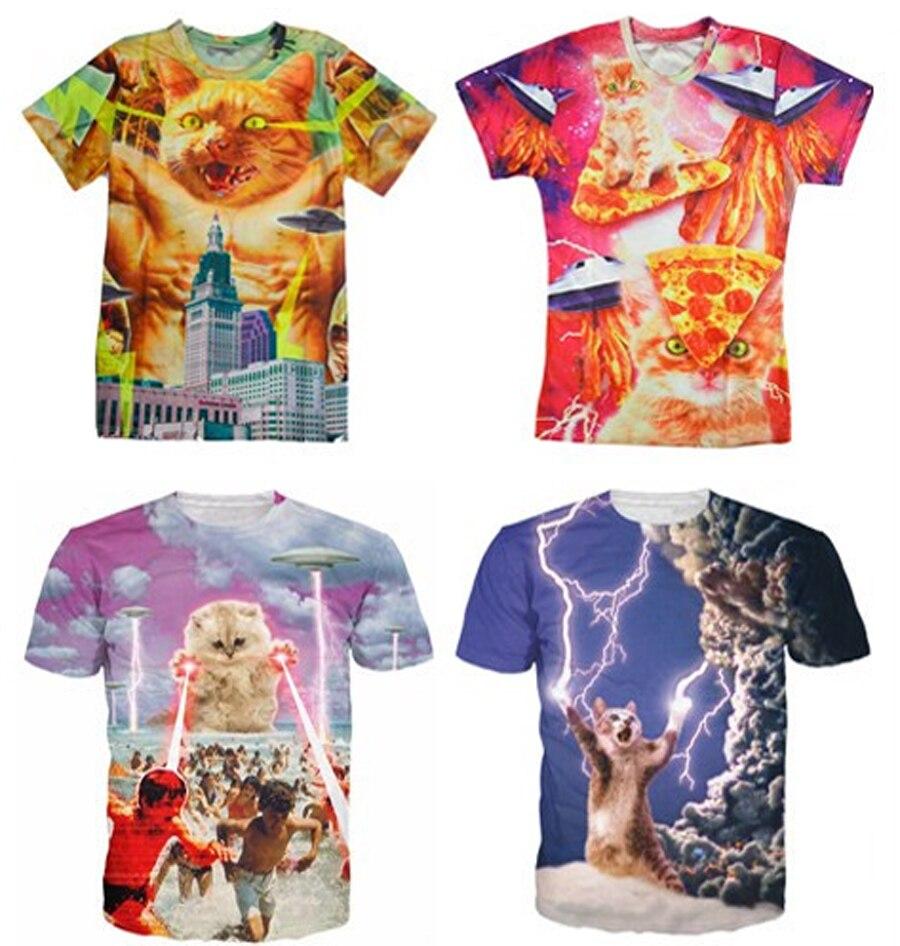 line Get Cheap Bacon Pizza Space Cat T Shirt Aliexpress