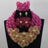 Hot Sales Nigerian Wedding African Beads Hot Pink Crystal Jewelry Sets Mix Gold Flowers Broaches Necklace Set Free Ship HX965