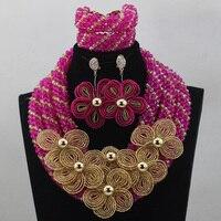 Heiße Verkäufe Nigerianischen Hochzeits Afrikanische Perlen Pink Kristall Schmuck Sets Mix Gold Blumen Broschen Halskette Set Freies Schiff HX965