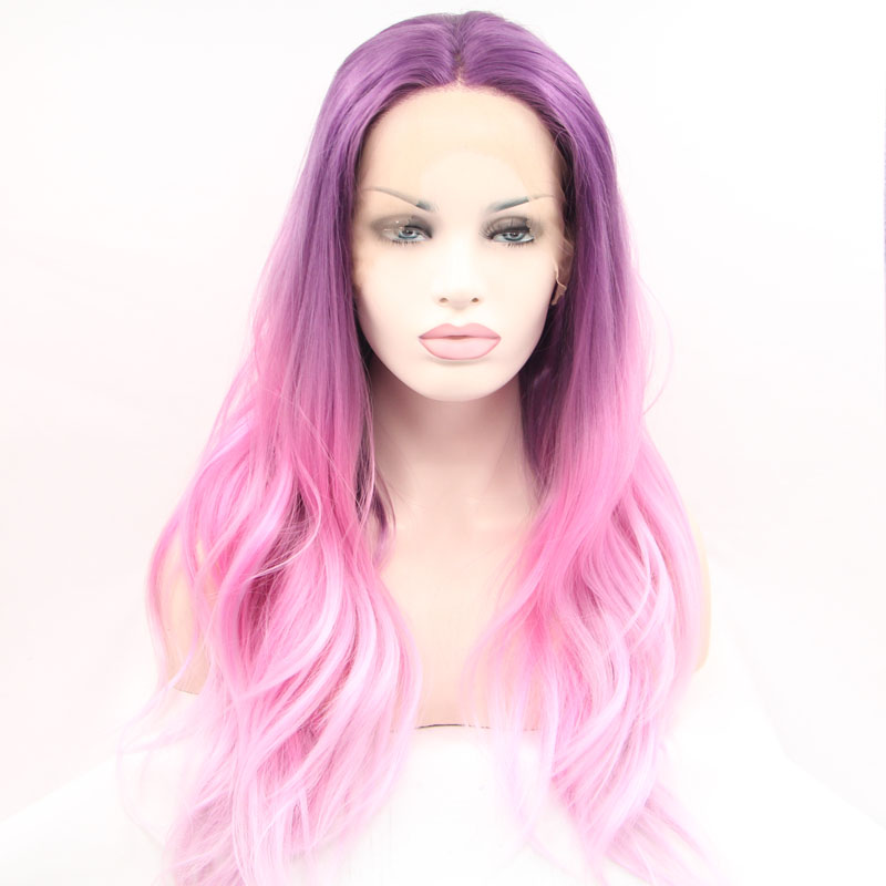 Sylvia Purple To Pink Two Tones Ombre Natural Wavy Wig Synthetic Lace Front Wigs For Women