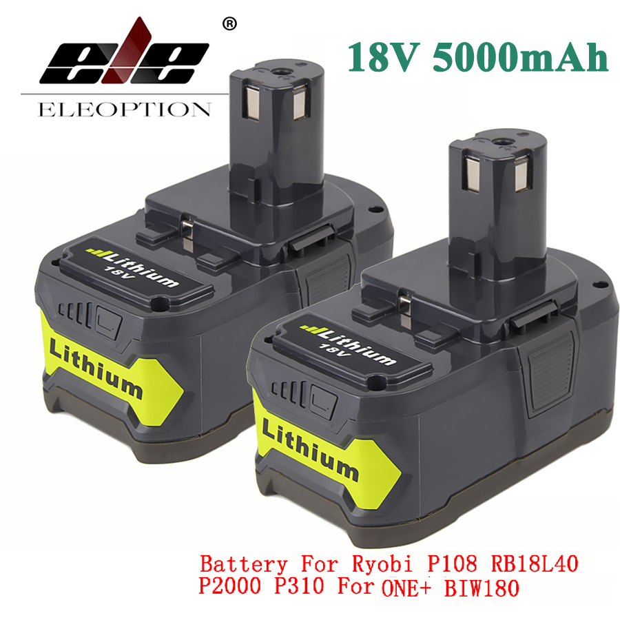 ELEOPTION 2x 18V 5000mAh Li-Ion Rechargeable Battery For Ryobi 18V Lithium Battery P108 RB18L40 P107 P104 For ONE+ BIW180 eleoption with charger 18v 5000mah li ion rechargeable battery for ryobi 18v battery and charger p108 p310 for one biw180