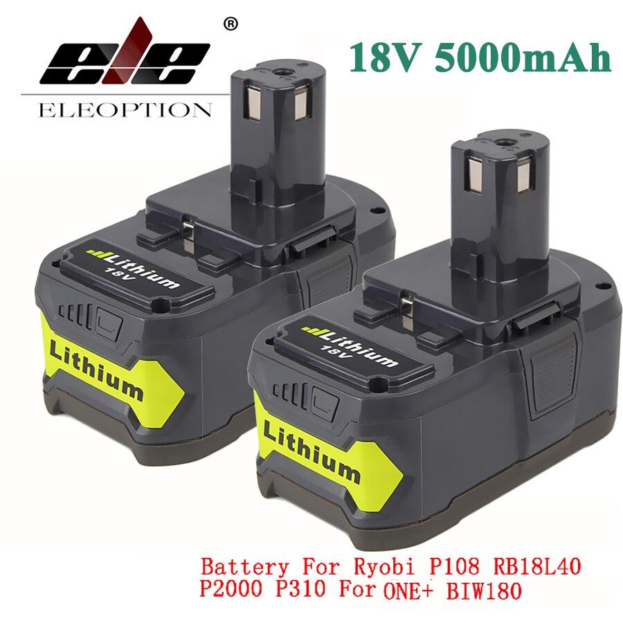 ELEOPTION 2x18 v 5000 mah Li-Ion Akku Für Ryobi 18 v Lithium-Batterie P108 RB18L40 P107 P104 für ONE + BIW180