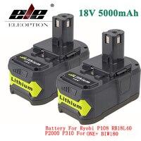 ELEOPTION 2x18V 5000mAh Li-Ion şarj edilebilir pil için Ryobi 18V lityum pil P108 RB18L40 P107 P104 için bir + BIW180