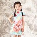 2016 de La Moda de Estilo Chino Vestido de La Muchacha de Algodón de Manga Corta Qipao Chino Cheongsam para Los Niños Niñas Otoño Primavera Ropa de Niña