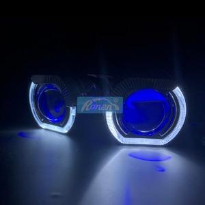 "Image 5 - Ronan 2.5 ""عدسة إسقاط ثنائية الزينون مع LED عيون الملاك shrouds الشيطان عيون أحمر أزرق RGB ل Univeral H1 H4 H7 المقبس سيارة التحديثية"