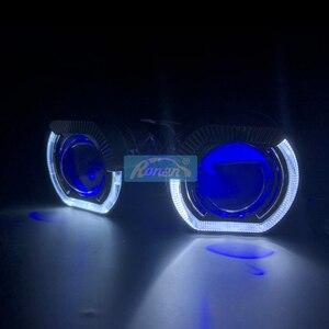 Image 5 - Фотолампа Ronan диагональю 2,5 дюйма со светодиодсветодиодный ангельскими глазами, светящиеся глаза дьявола, красные, синие, RGB для универсальной розетки H1 H4 H7, модификация автомобиля