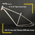 FREE SHIPPING !!! TiTo Titanium MTB bike frame 26``   27.5``  29`` hidden disc brake seat 142-12 barrel shaft  bicycle
