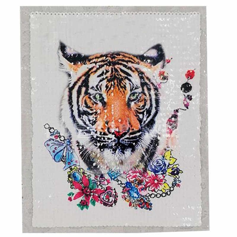 Naszywki na odzież T shirt kobiety 24 cm tygrys głowy cekiny cekiny koszulka damska stylowe topy koszula damska Patch ubrania