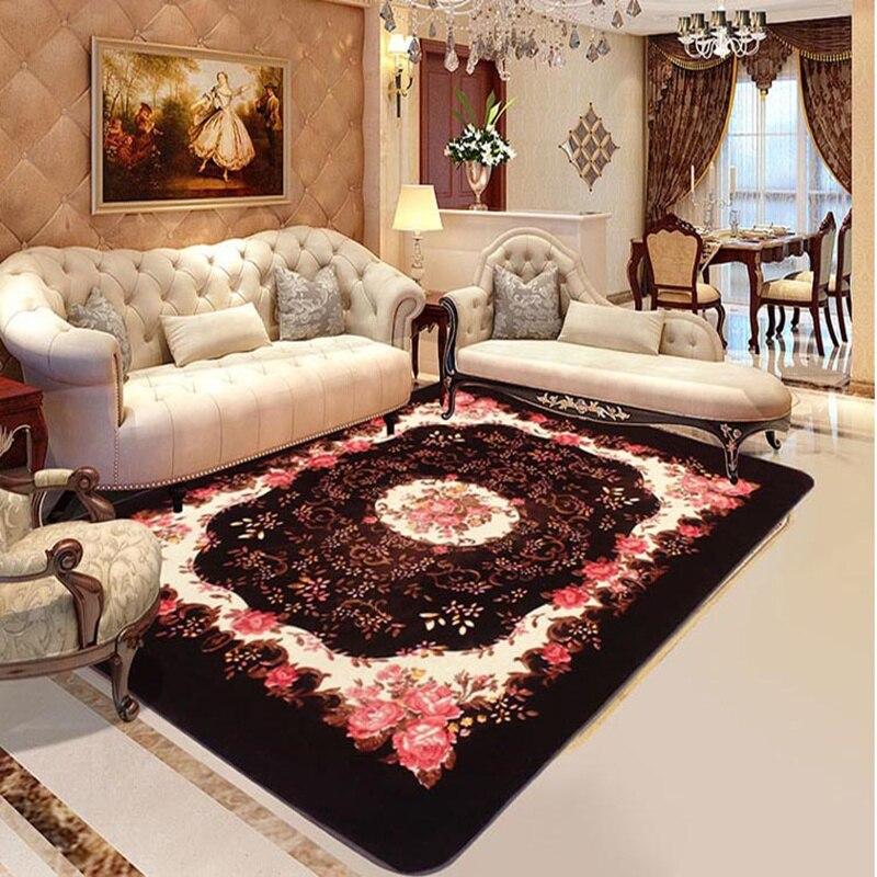 Style européen salon thé tapis Rose romantique fleur maison grand tapis Super doux et antidérapant brun chambre tapis