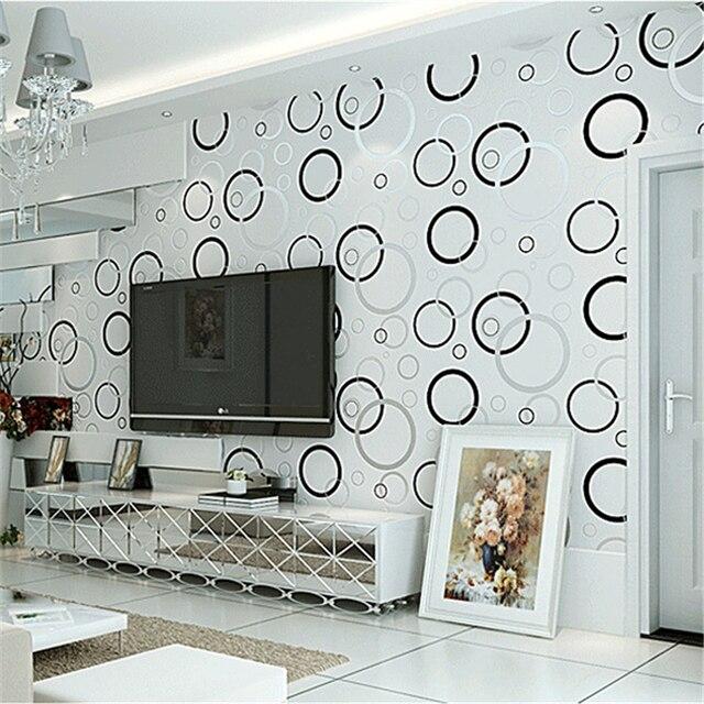 Beibehang Tapeten Moderne Einfache Schwarz Weiss Kreis Schlafzimmer Vliestapete Wohnzimmer Tv Wand Sofa Tapete