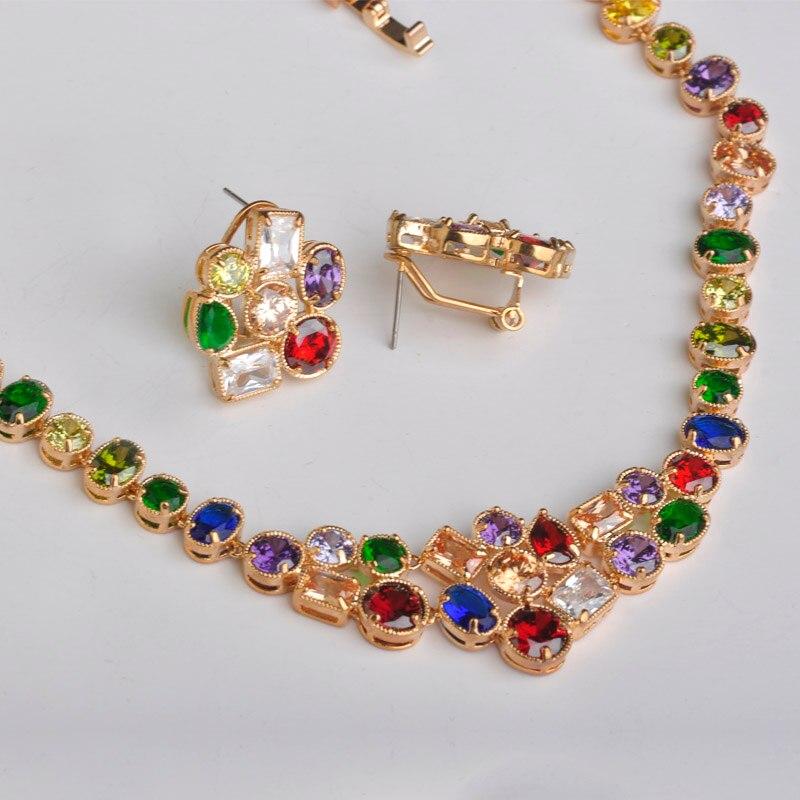 Ensembles de Bijoux de mariées de mariage mechoice Collier boucles d'oreilles de luxe en zircone coloré Collier Brincos ensemble de Bijoux de couleur or