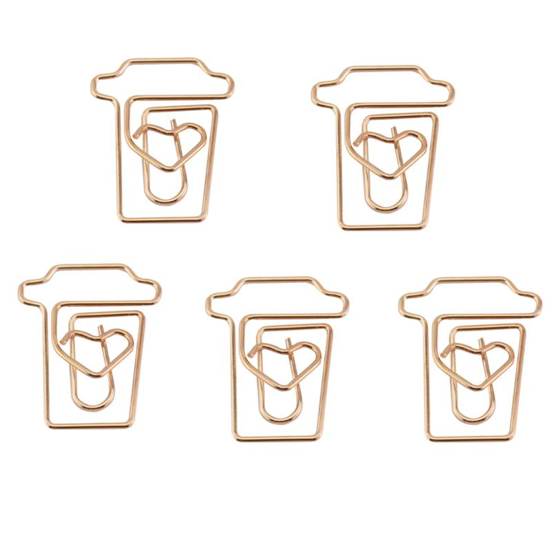 Coffee Cup Mug Shaped Paper Clips Metal Note Clips For Office School Wedding Decoration Pack 12Pcs