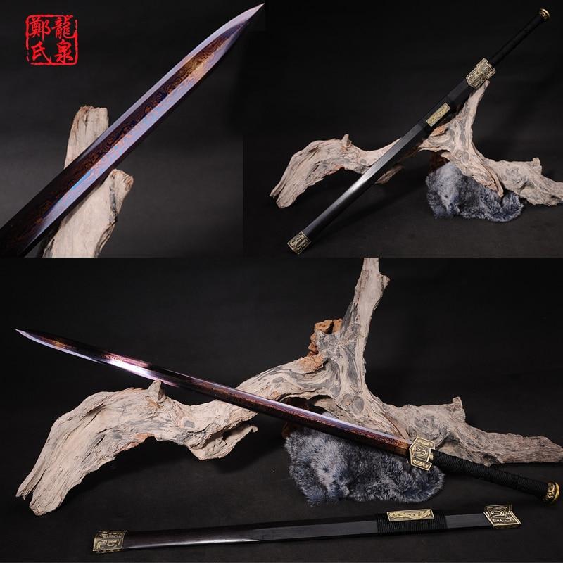 Настоящий Китайский большой меч imiated Дамаск Цветной Сталь синий покрытие украшение для продажи