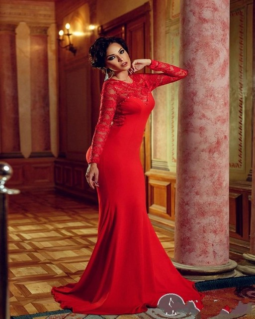 82cfc16b7d92 Sexy Red Backless Mermaid Evening Dress 2015 Lace Long Sleeve Robe De  Soiree Fashion Women Muslim Evening Prom Gowns