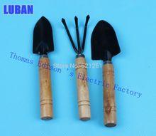 Сад-тройку мини грабли лопата небольшой цветочный лопатой деревянные садовые инструменты