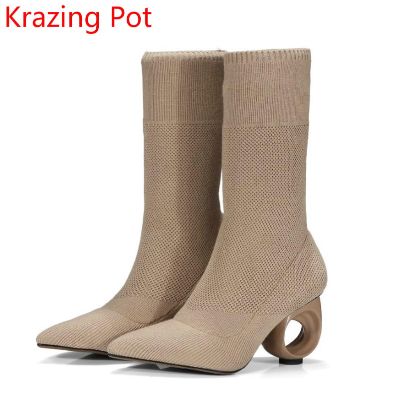 2018 Superstar Solid Pointed Toe Hollow Strange High Heels Fashion Boots Winter Classics Office Lady Stretch Mild-calf Boots L01 adidas superstar shell toe fashion sneaker