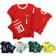 hot deal buy 2018 world cup football family t-shirt summer top kids clothes boy girl tshirt child sports tees family matching outfits clothes