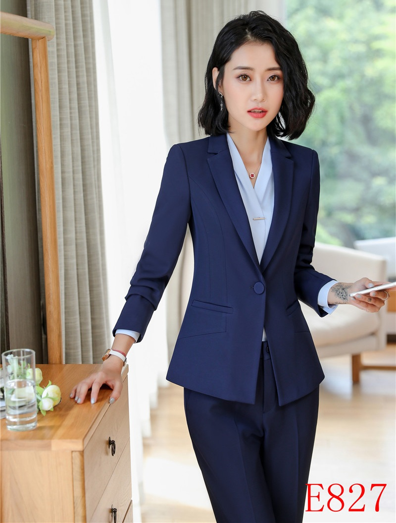 Back To Search Resultswomen's Clothing Formal Pant Suits For Women Business Suits Blue Blazer And Jacket Sets Ladies Work Wear Clothes Office Uniform Styles