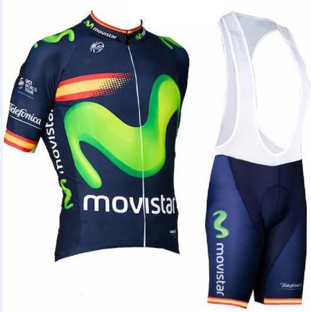 Movistar 2018 Men Summer Short Sleeve cycling jersey bike bib shorts set MTB Ropa Ciclismo bicycling Maillot clothes sportwear