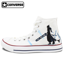 White Converse Chuck Taylor Men Women's Shoes Custom Final Fantasy Design Hand Painted High Top Sneakers Man Woman