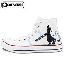 White Converse Chuck Taylor Men Women's Shoes Custom Final Fantasy Design Hand Painted High Top Sneakers Man Woman