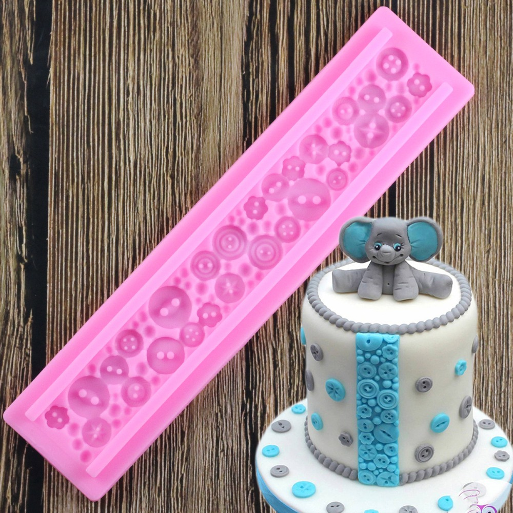 3D Button Silicone Mold Cake Border Fondant Molds Cupcake Decorating Tools Chocolate Candy Sugarcraft Mould Kitchen Baking Mould