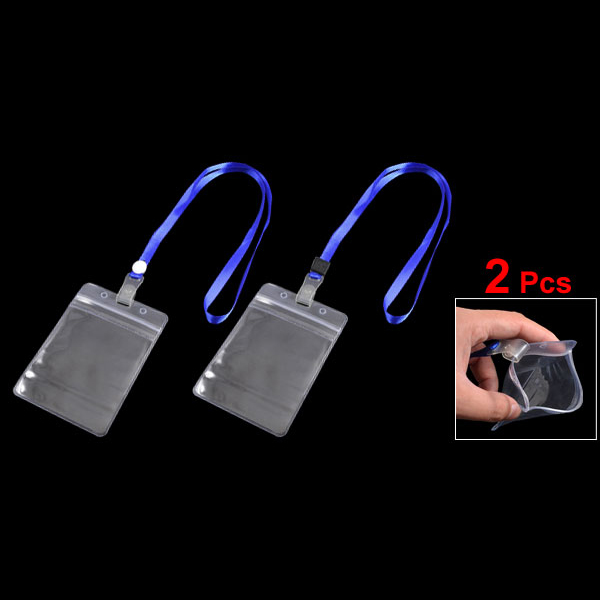 10pack (2 Pcs ID Card Badge Holder Adjustable Neck Strap Lanyard Blue Clear 10pcs lot retractable pull badge reel zinc alloy abs plastic id lanyard name tag card badge holder reels