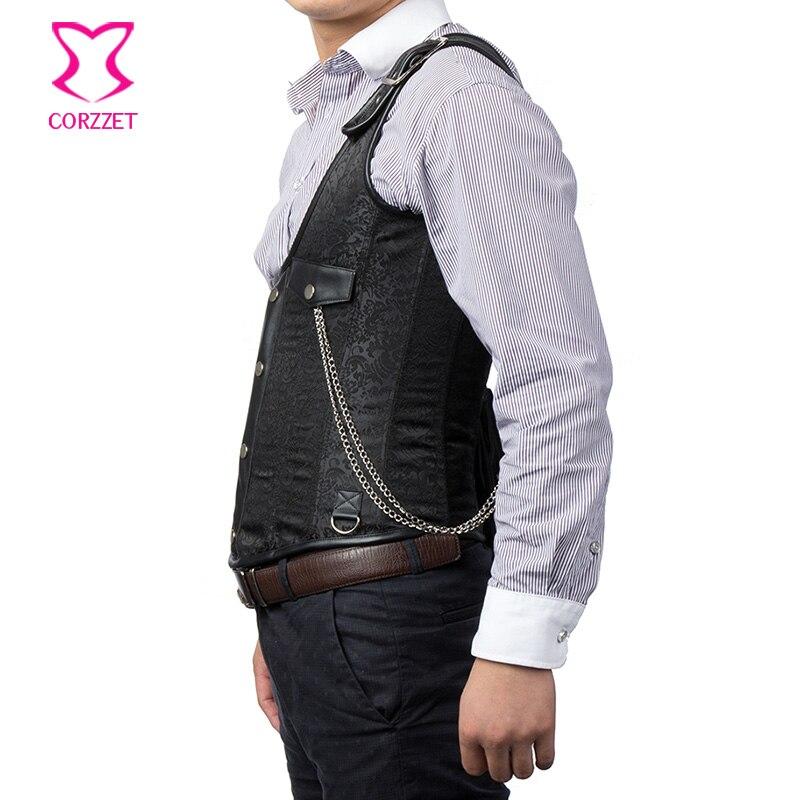 Vintage Black Brocade Buckled One-Shoulder med Chain Gothic Jacket - Herretøj - Foto 4