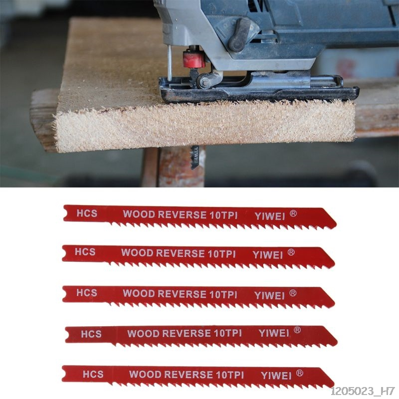 5pcs Durable U-shank High Carbon Steel 6 8 10 12 TPI Reciprocating Saw Blade Cutter For Wood Jig Cutting