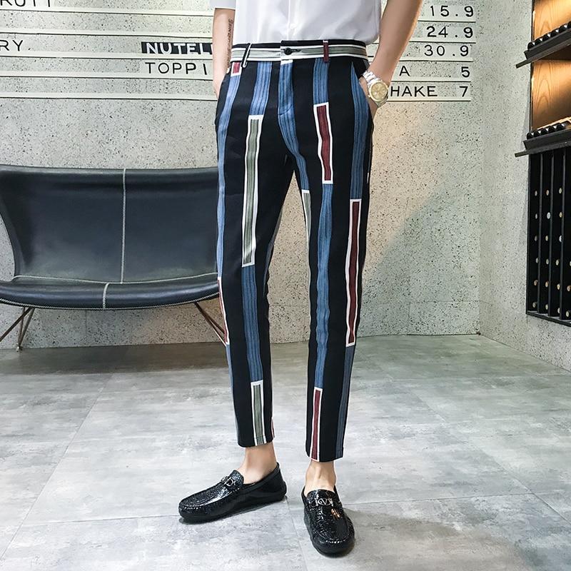 2019 New Casual Joggers Pant Streetwear Sweatpants Male Harem Pants Dress Fashion Stripe Print Men Pants Slim Fit Trousers