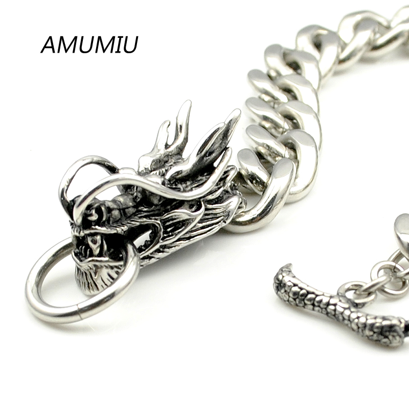 AMUMIU Cool Stainless Steel Dragon Bracelets For Men New Arrival Fashion Stainless Steel Bangle Men s