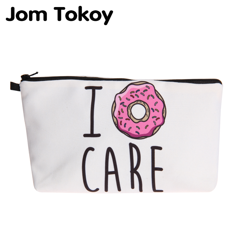 Jom Tokoy New Fashion Cosmetic Organizer Bag Donuts Heat Transfer Printing Cosmetic Bag Fashion Women Brand Makeup Bag