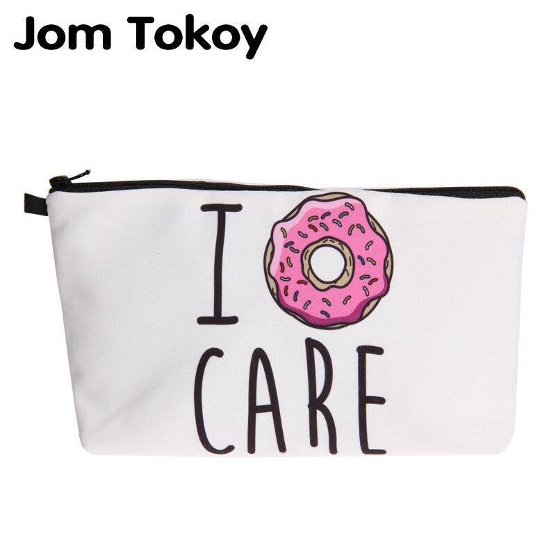 Jom Tokoy New Fashion Cosmetic Organizer Bag Donuts Heat Transfer Printing Cosmetic Bag Fashion Women Brand Makeup Bag